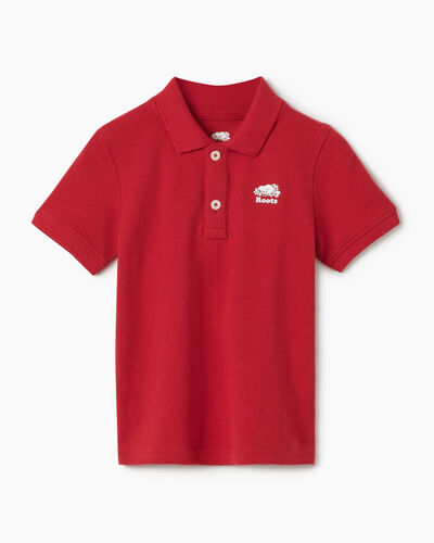 Roots-Kids Tops-Toddler Heritage Pique Polo-Sage Red-A
