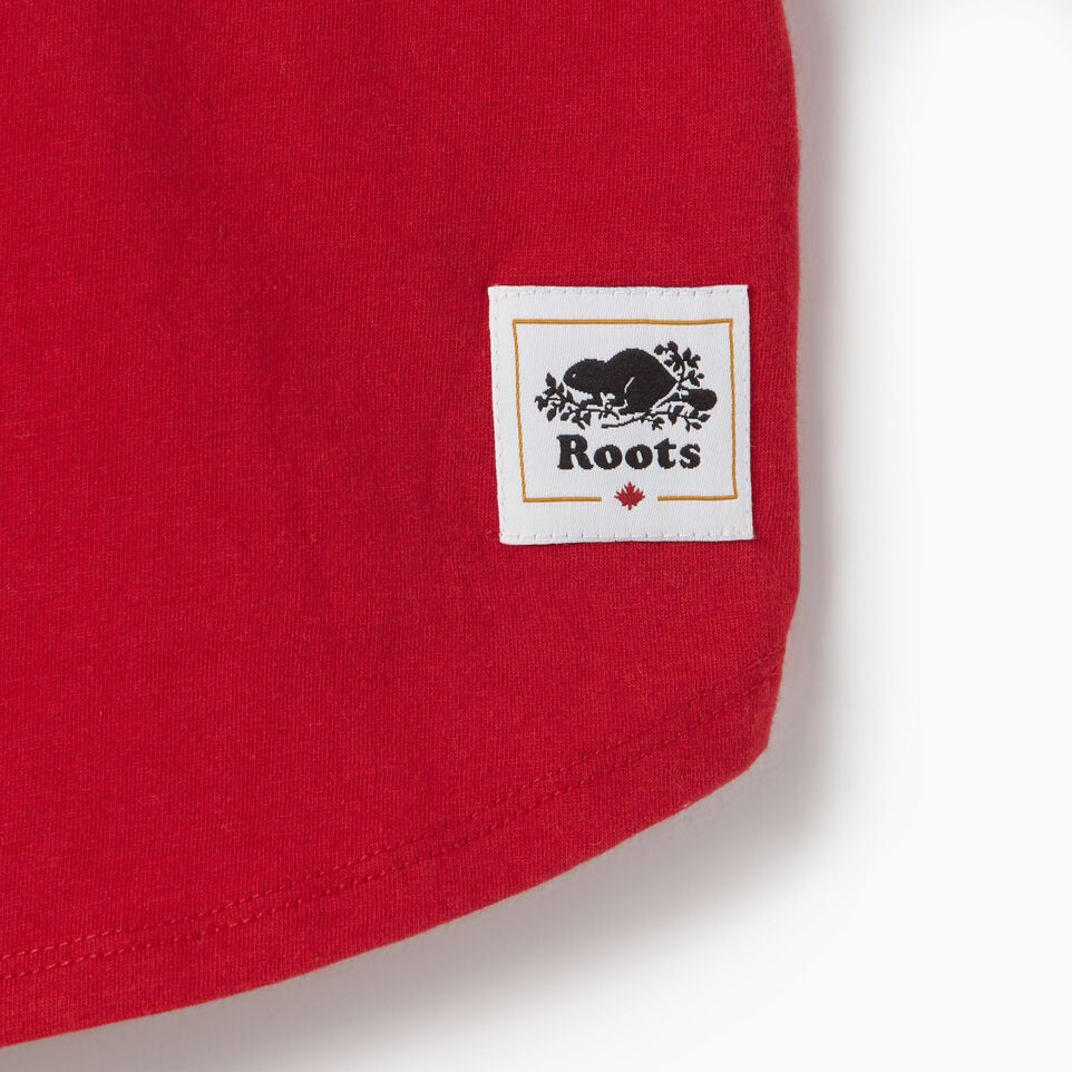 Roots-Kids Canada Collection-Girls Blazon T-shirt-Sage Red-D
