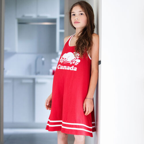 Roots-Kids New Arrivals-Girls Canada Tank Dress-Sage Red-A