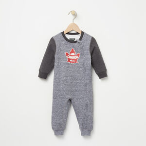 Roots-Kids Sweats-Baby Heritage Canada Romper-Salt & Pepper-A