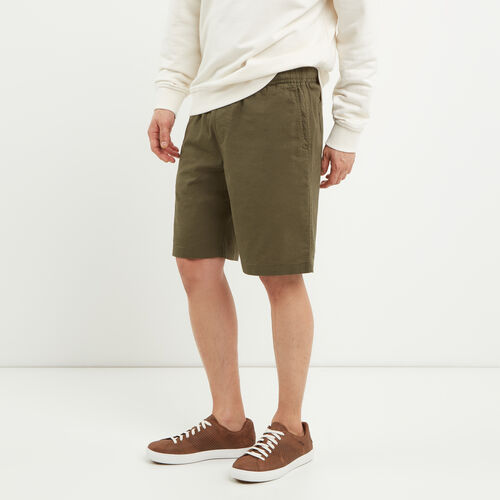 Roots-Men Shorts-Hemp Pull On Short-Fatigue-A