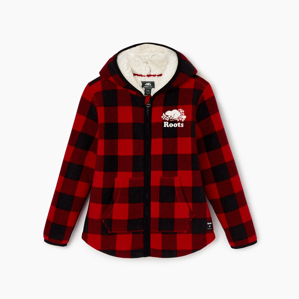 Roots-Kids New Arrivals-Girls Park Plaid Sherpa Zip Hoody-Cabin Red-B