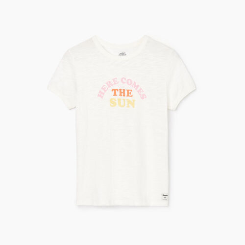 Roots-Women Graphic T-shirts-Womens Soleil T-shirt-Ivory-A