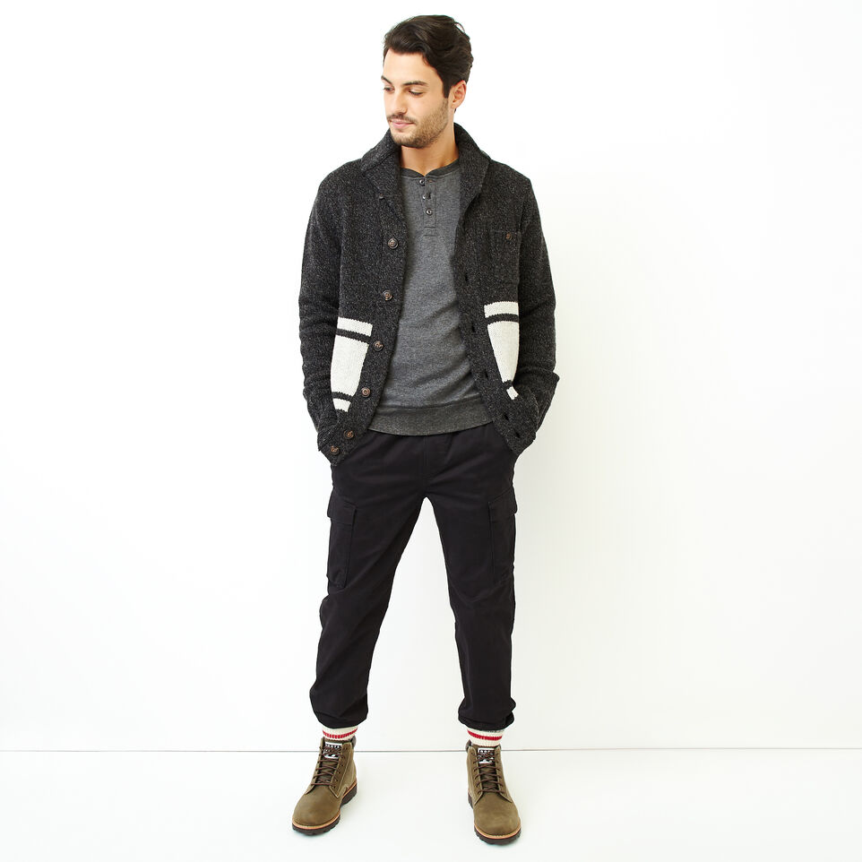 Roots-Men New Arrivals-Cozy Thermal Henley-Charcoal Mix-B