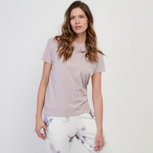 Roots-Women Tops-Essential Crew T-shirt-Misty Lilac-A