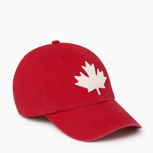 Roots-Men Accessories-Canada Leaf Baseball Cap-Red-A