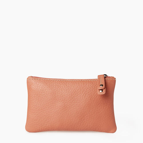 Roots-Leather Leather Accessories-Medium Zip Pouch-Canyon Rose-A