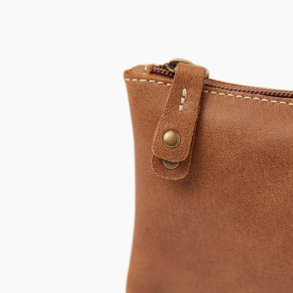 Roots-Women Leather Accessories-Medium Zip Pouch-Natural-E