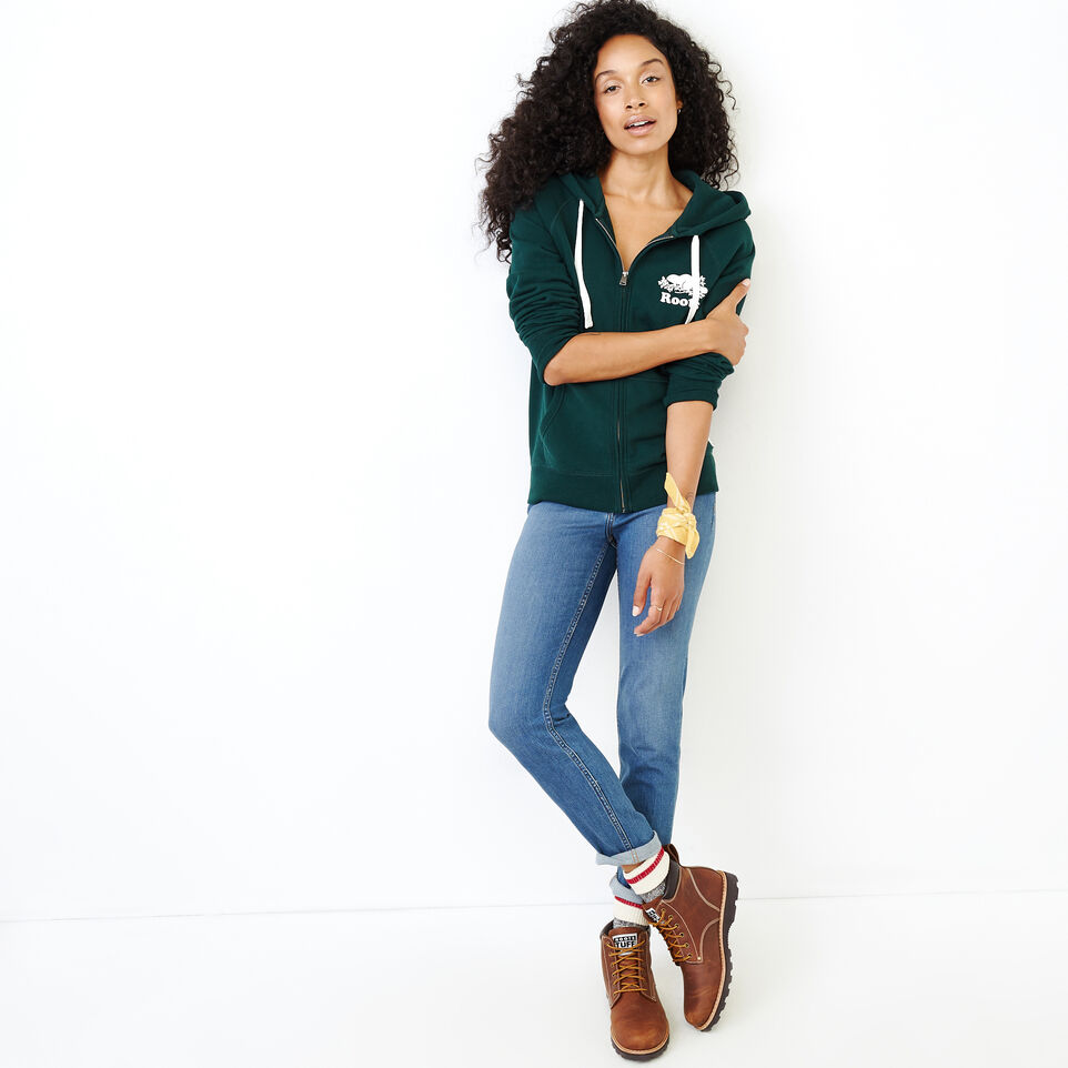 Roots-Women Clothing-Original Full Zip Hoody-Varsity Green-B