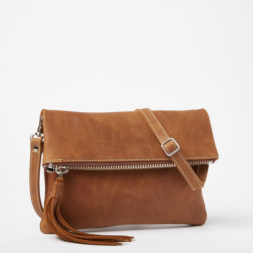 Roots-Leather  Handcrafted By Us Handbags-Anna Clutch Tribe-Natural-A