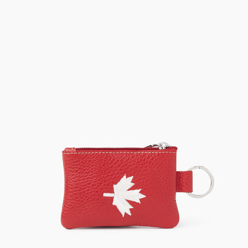 Roots-Leather Leather Accessories-Maple Leaf Top Zip Pouch Cervino-Canadian Red-A