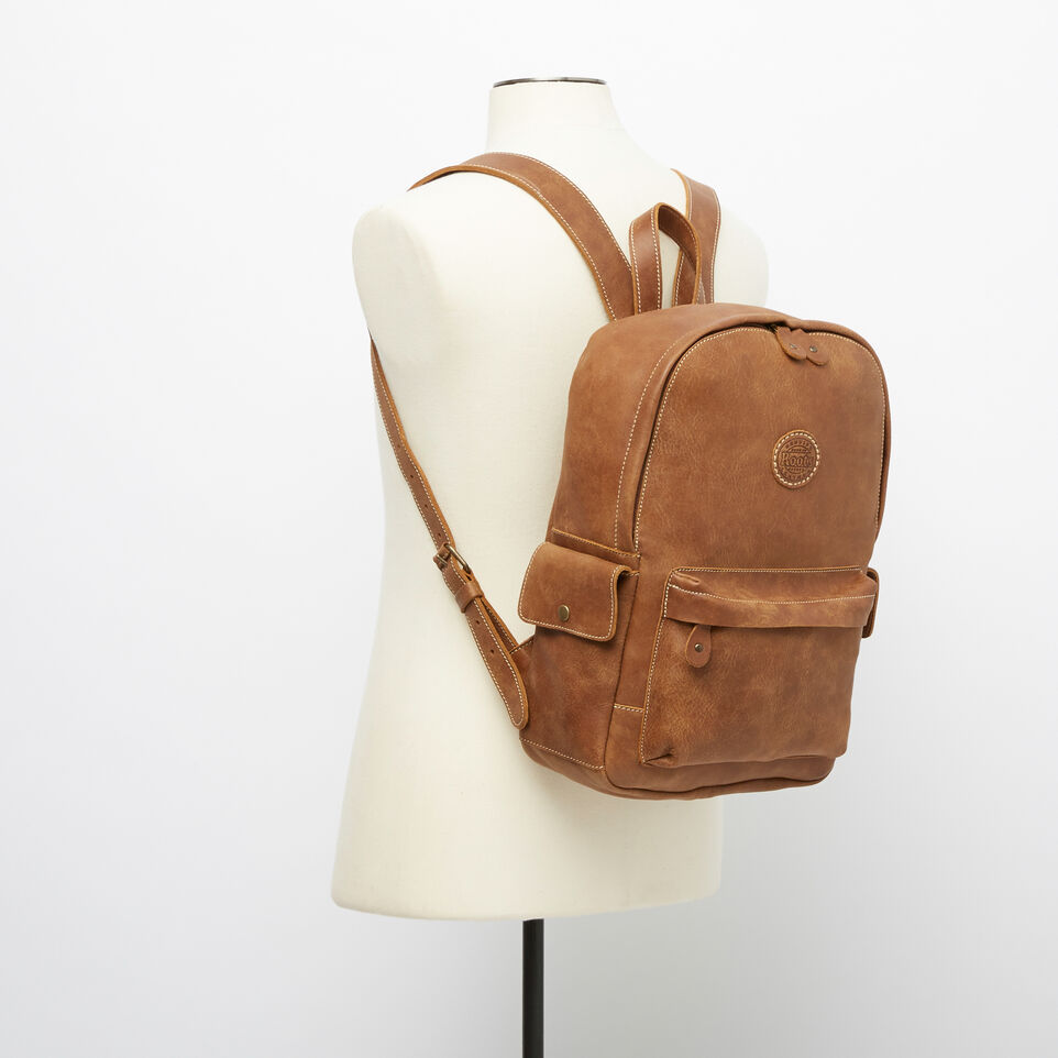 Roots-Leather Backpacks-Central Pack-Natural-B