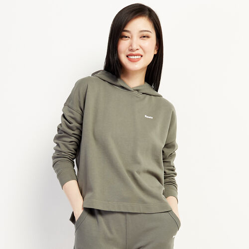 Roots-Sweats Women-Eramosa Cropped Hoody-Balsam Green-A