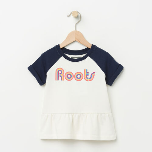 Roots-Kids Toddler Girls-Toddler Short Sleeve Peplum Crew-Pristine White-A