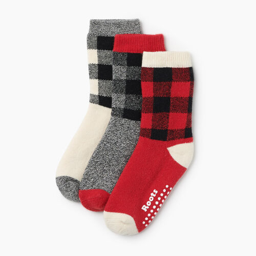 Roots-New For October Kids-Toddler Plaid Sock 3 Pack-Cabin Red-A