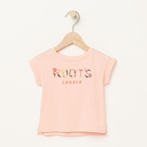 Roots-Kids Tops-Baby Floral Boxy T-shirt-Blossom Pink-A
