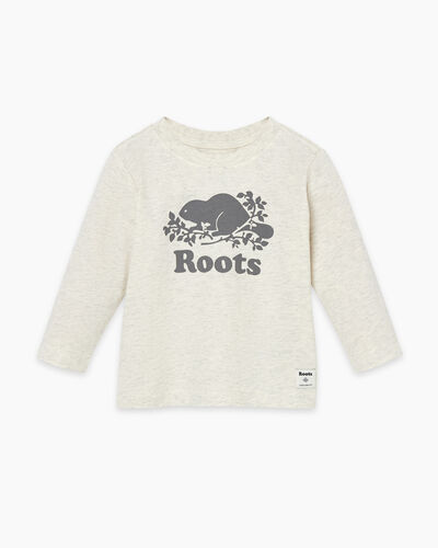 Roots-Kids T-shirts-Baby Original Cooper Beaver T-shirt-White Grey Mix-A