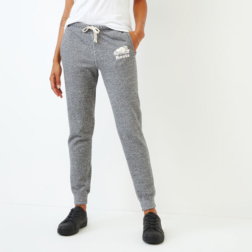 Roots-Women Sweatpants-Slim Cuff Sweatpant - Tall-Salt & Pepper-A