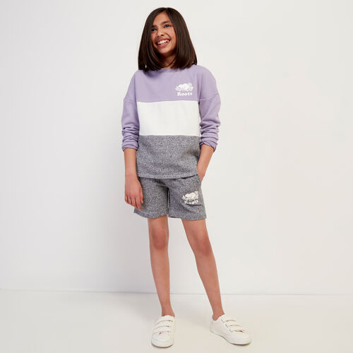 Roots-Kids Tops-Girls Colour Block Sweatshirt-Wisteria-A