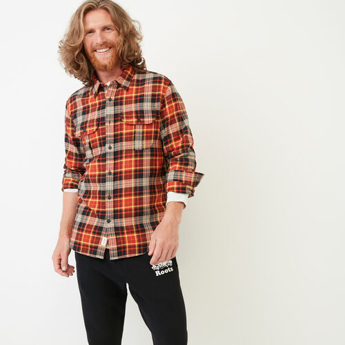 Roots-Men Shirts & Polos-Emerson Shirt-Dark Flaxseed Mix-A