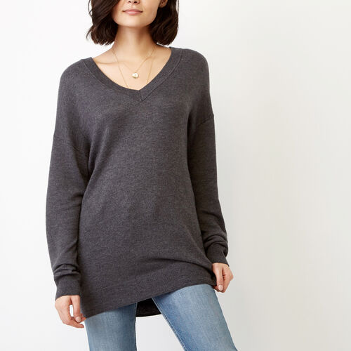Roots-Winter Sale Women-Dawson V Neck Sweater-Charcoal Mix-A