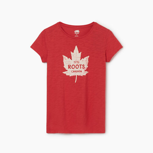 Roots-Women Graphic T-shirts-Womens Canada Maple Leaf T-shirt-Cardinal Red-A