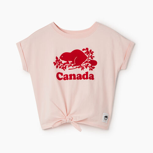 Roots-Kids Tops-Toddler Canada Tie T-shirt-English Rose-A