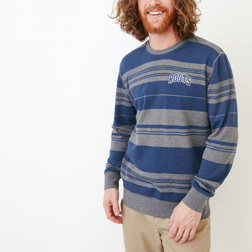 Roots-Clearance Men-Rugby Stripe Crew Sweatshirt-Med Grey Mix-A