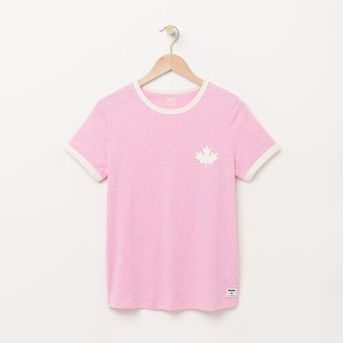 Roots-Winter Sale Tops-Womens Cabin Ringer T-shirt-Happy Pink Mix-A