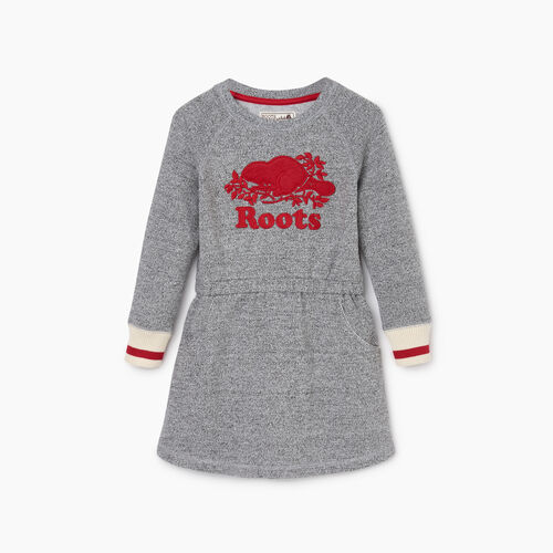 Roots-New For October Kids-Toddler Roots Cabin Cozy Dress-Salt & Pepper-A