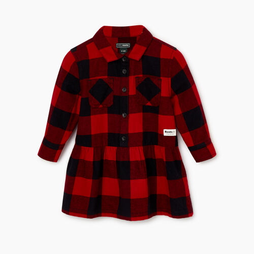Roots-Sale Kids-Baby Park Plaid Dress-Lodge Red-A