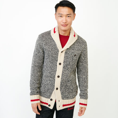Roots-Men Sweaters & Cardigans-Roots Cabin Shawl Cardigan-Grey Oat Mix-A