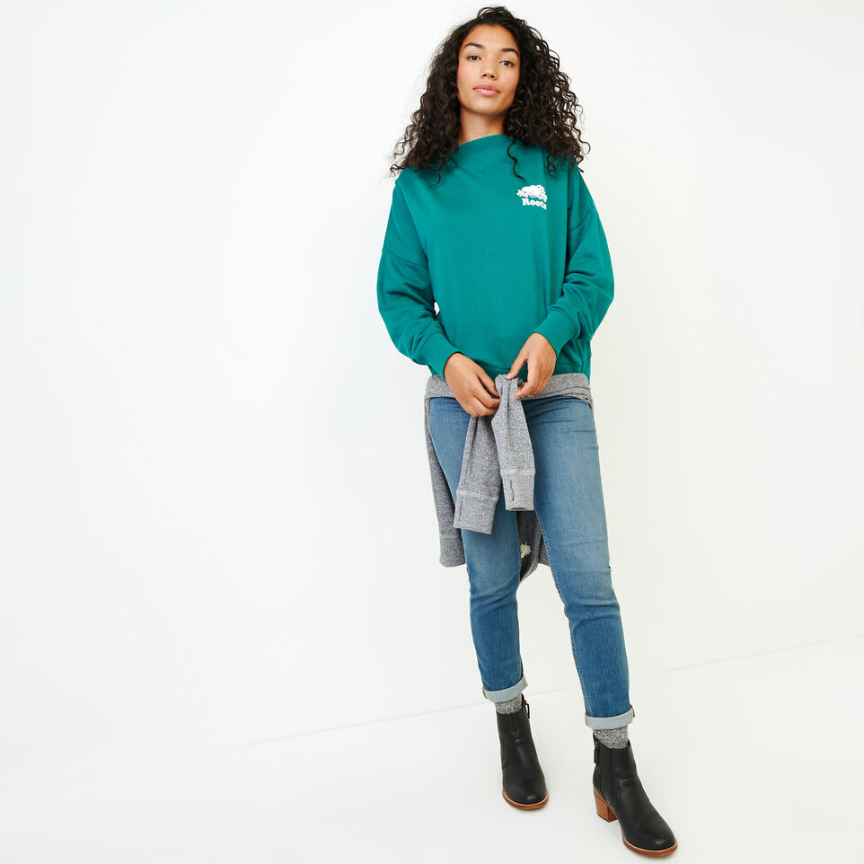 Roots-Women Our Favourite New Arrivals-Chevron Crew Sweatshirt-Teal Green-B