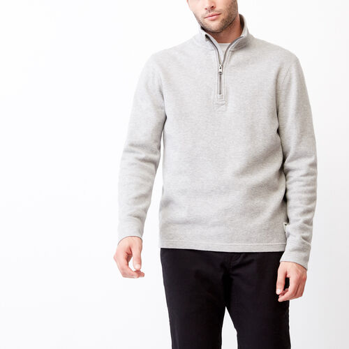 Roots-Men Categories-Flatknit Rib 1/4 Zip-Grey Mix-A