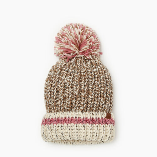 Roots-Gifts Accessory Sets-Chunky Cabin Pom Pom Toque-Fawn Taupe Mix-A