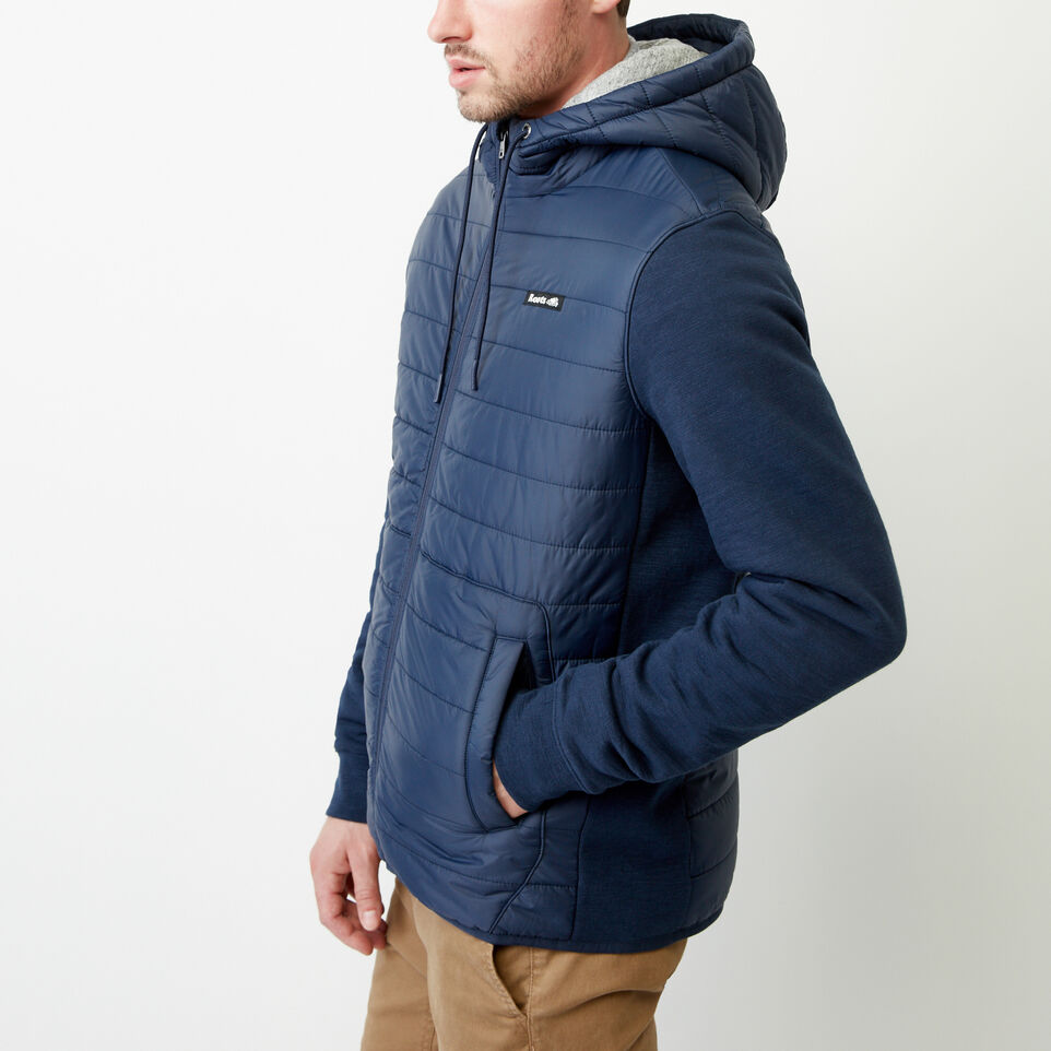 Roots-Men Categories-Roots Hybrid Hooded Jacket-Navy Blazer-C