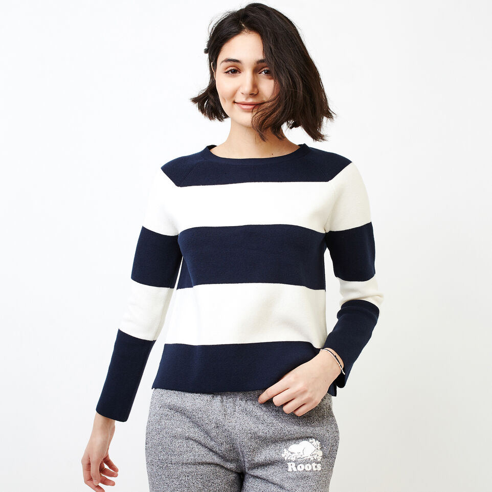 Roots-Women Categories-Hillsborough Sweater-Navy Blazer-A