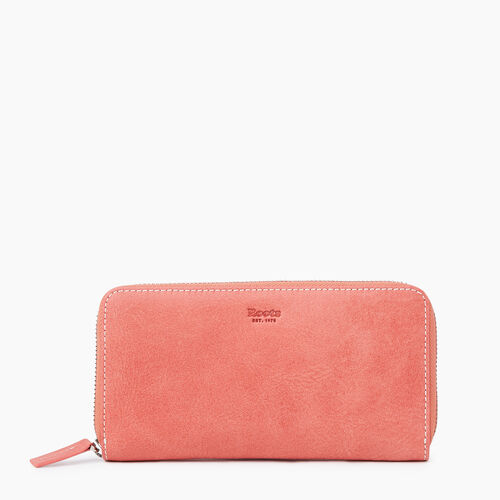 Roots-Leather Categories-Zip Around Clutch Tribe-Coral-A