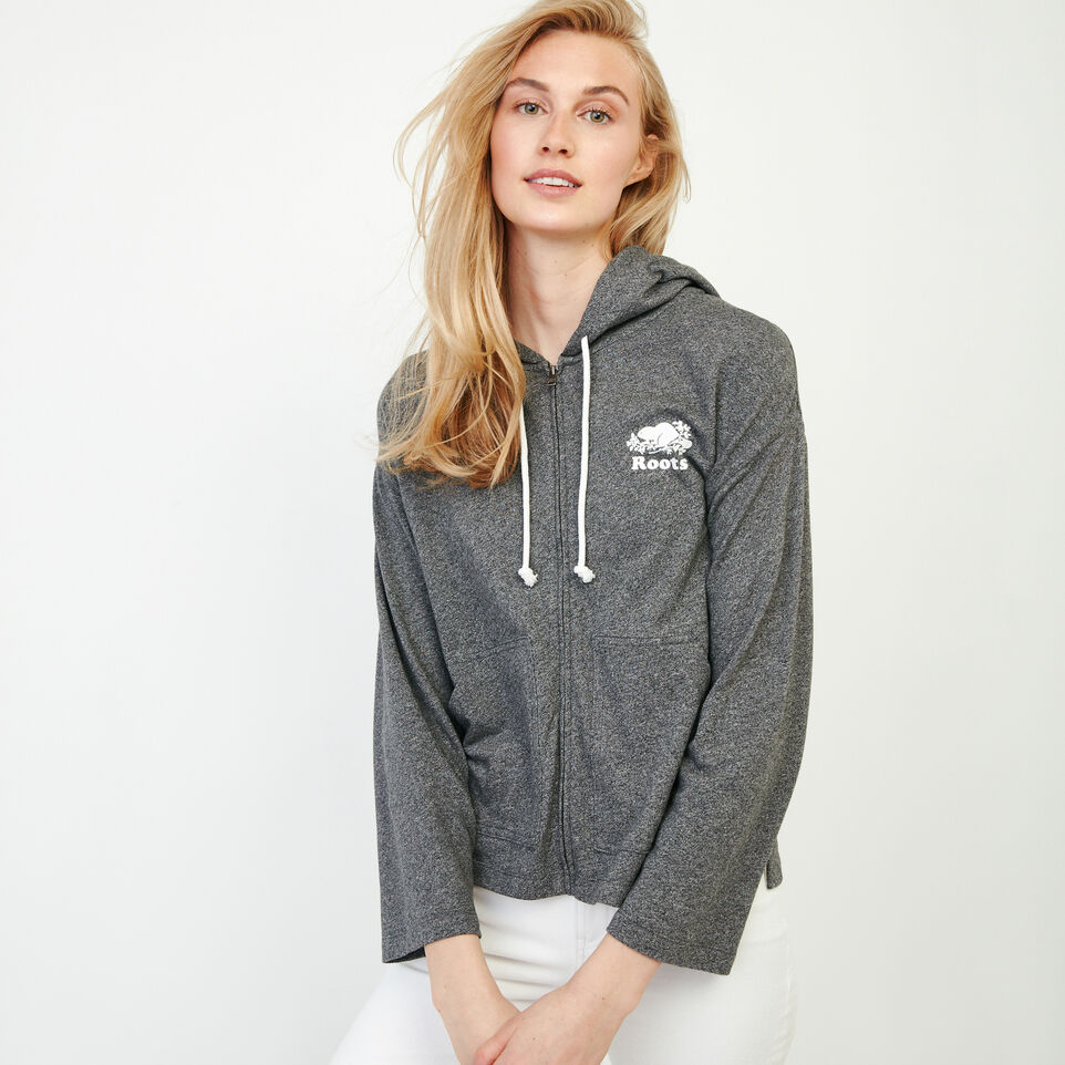 Roots-Women New Arrivals-Summerside Zip Hoody-Salt & Pepper-A