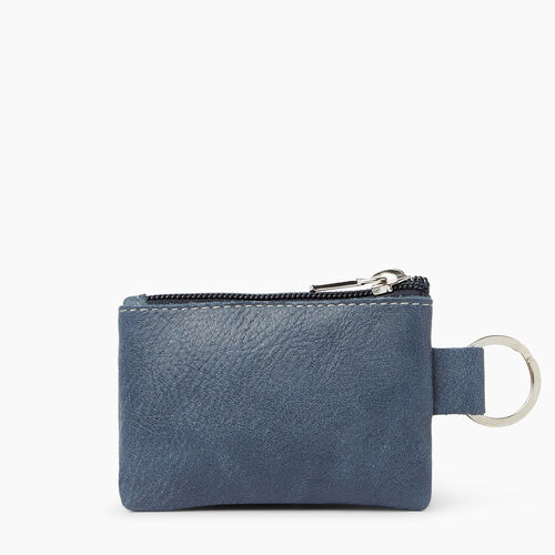 Roots-Leather  Handcrafted By Us Leather Accessories-Top Zip Key Pouch Tribe-Navy-A