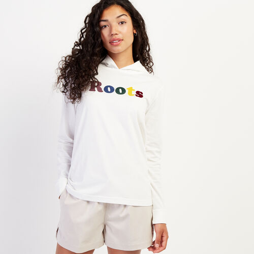 Roots-Women Graphic T-shirts-Womens Remix Hooded Long Sleeve T-shirt-Ivory-A