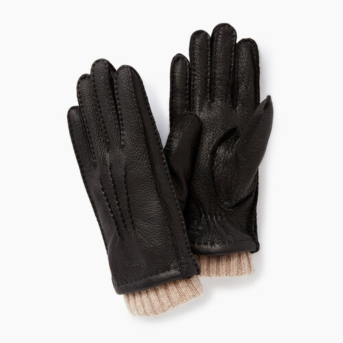Roots-Women Leather Accessories-Womens Cuff Deerskin Glove-Black-A