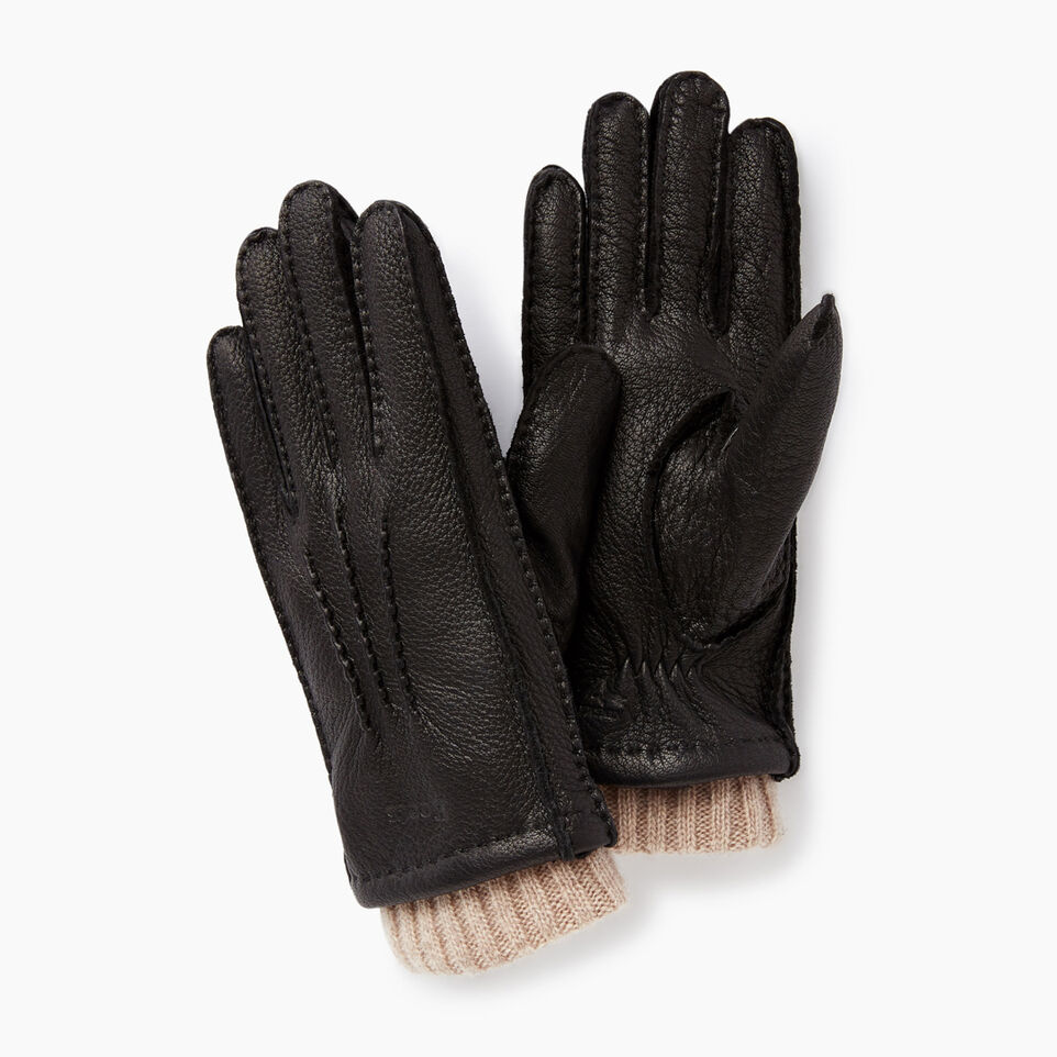 Roots-Leather Small Leather Goods-Womens Cuff Deerskin Glove-Black-A