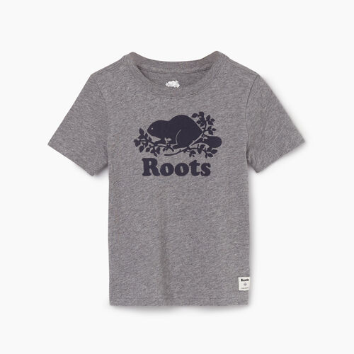 Roots-Kids New Arrivals-Toddler Original Cooper Beaver T-shirt-Medium Grey Mix-A