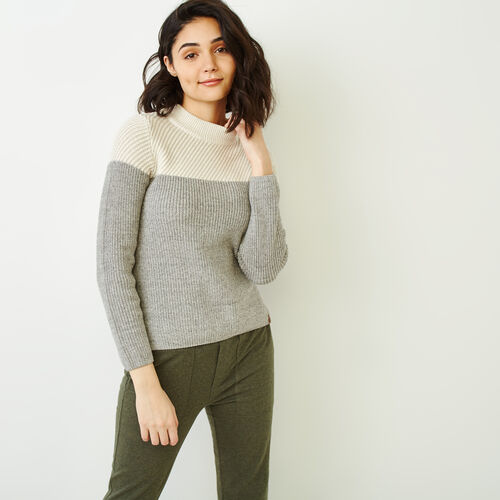 Roots-Women Sweaters & Cardigans-Arbutus Twill Sweater-Salt & Pepper-A