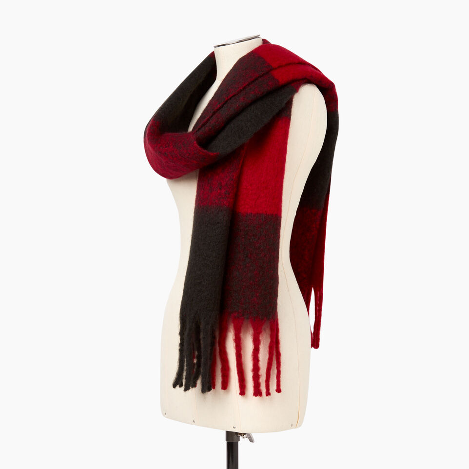 Roots-Women Categories-Park Plaid Fluff Scarf-Red-C