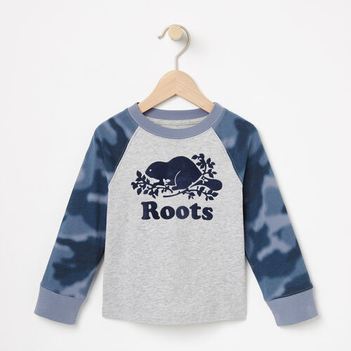Roots-Kids Tops-Toddler Blurred Camo Top-Grey Mix-A