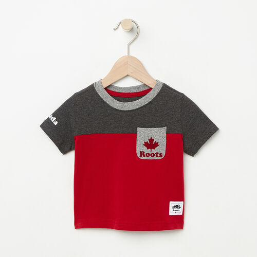 Roots-Kids Baby-Baby Canada Colourblock T-Shirt-Sage Red-A