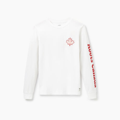 Roots-Women Graphic T-shirts-Womens Waltham Long Sleeve T-Shirt-Crisp White-A