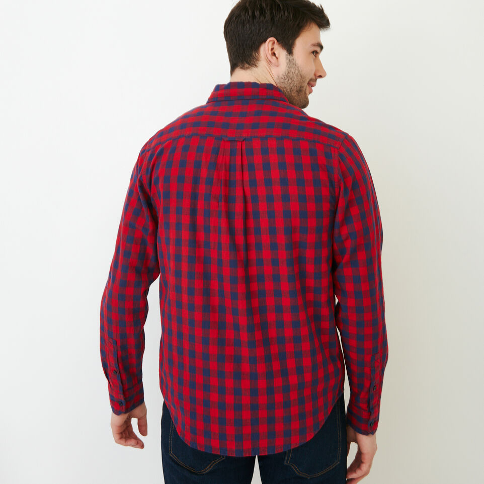 Roots-Men Shirts & Polos-White Pine Long Sleeve Shirt-Sage Red-E